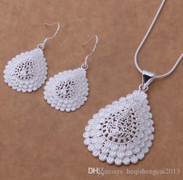 Moda charme pingente O pavão 925 prata Brinco colar conjuntos de jóias 10 set / lote