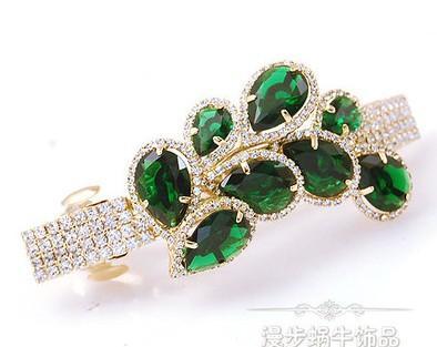 o pavão do diamante de duas cores deixa o hairpin da senhora ((8.5 * 4cm) (ma52)