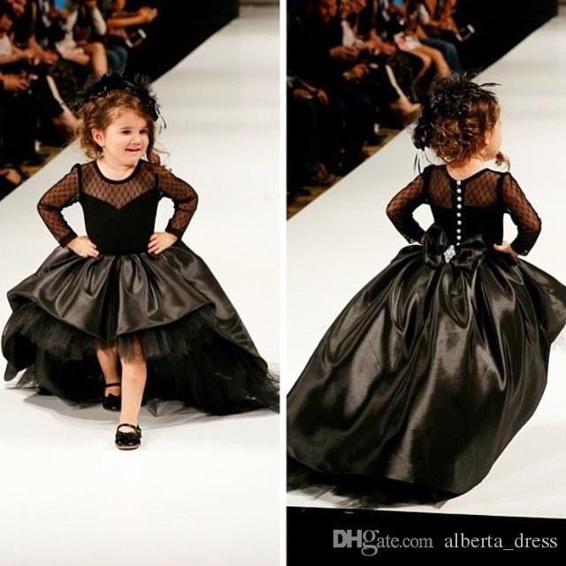 2019 Cupcake Princess Ball Gown Black Taffeta High Low Girl Pageant Dresses with Long Sleeves Fashion Kids Formal Wear Prom Gowns