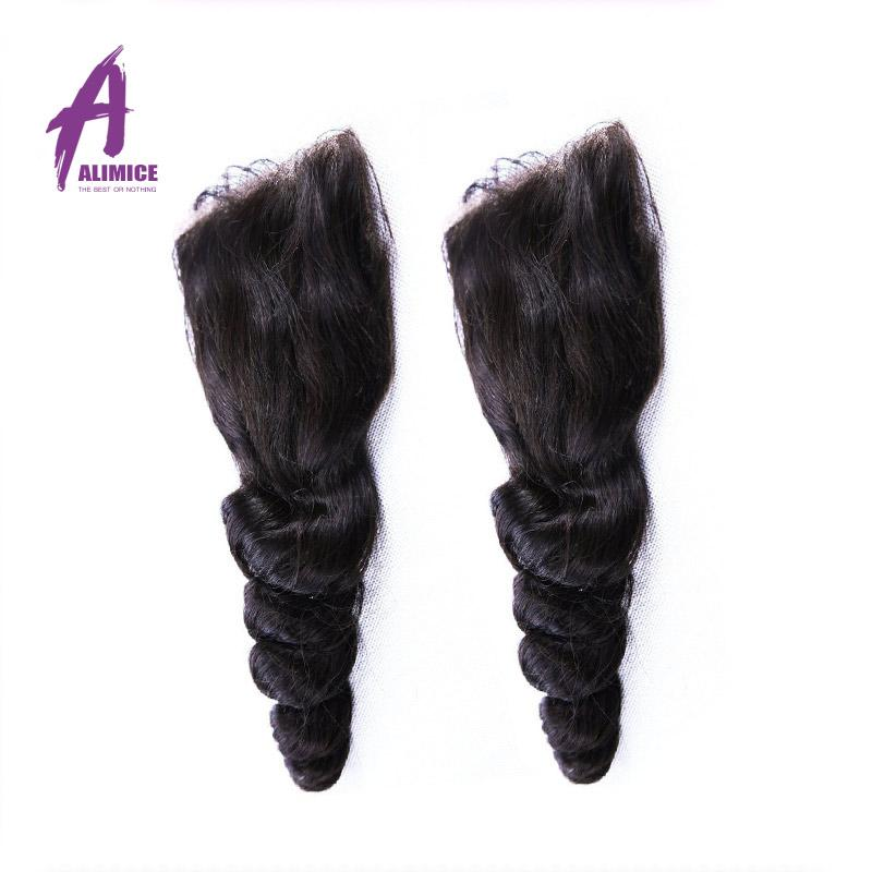 7A Peruvian Loose Wave Closure 4*4 Peruvian Virgin Hair Closure Bleached Knots Free Middle 3 Part Tight Loose Wave Lace Closure
