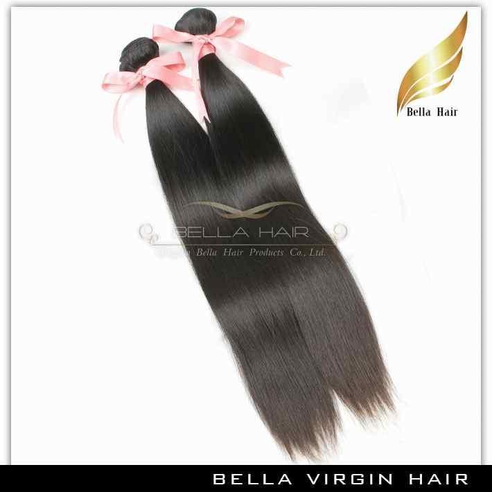Dziewiczy Peruwiański Włosy Remy Ludzkie Przedłużanie Włosów Proste Włosy Wyplata 3 Sztuk / partia Natural Color Grade 9A 10-24 cal podwójny wątek