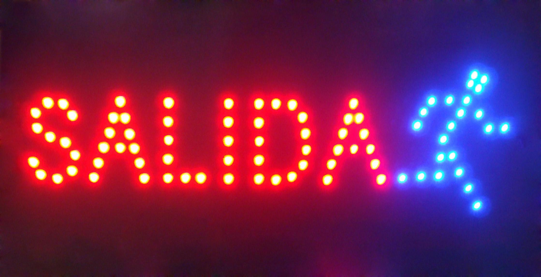 Испанский язык индивидуальные светодиодные САЛИДА неоновые вывески выделяющийся лозунги неоновые огни красное слово полу-открытый бесплатная доставка