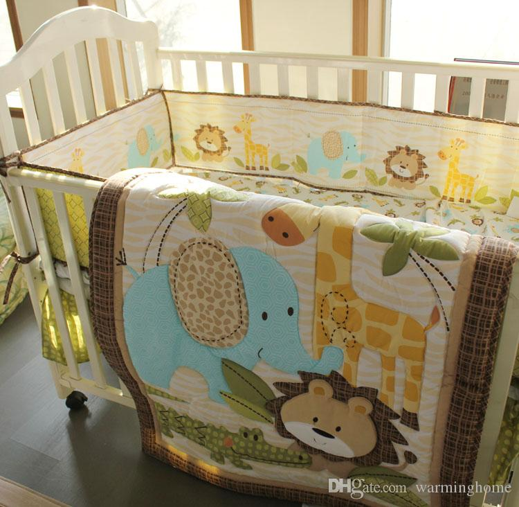Africa Forest Set Crib Baby Bedding Blanket Set Embroidery Baby Nursery  Crib Bumper Quilt Fitted Sheet Dust Ruffle Discount Childrens Bedding Sets  Boy