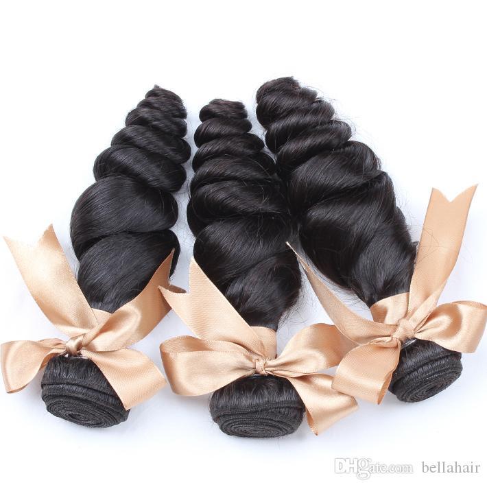 Бразильские пакеты волос норковые волосы Remy человеческие волосы плетение девственные необработанные высочайшее качество натуральный цвет двойной уток свободная волна Беллахаир