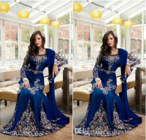 Royal Blue Luxury Crystalイスラム教徒のアラビア語のウエディングのドレスアップアップリケレースアバヤドバイKAFTAN長くプラスサイズのフォーマルなイブニングドレス