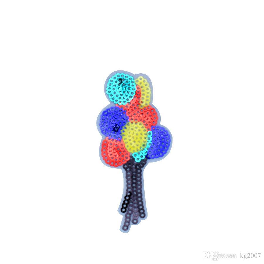 전송 새해 아이 패치에 의류 철에 대한 10PCS 풍선 스팽글 패치 청바지 가방 자수 장식 조각에 DIY 바느질