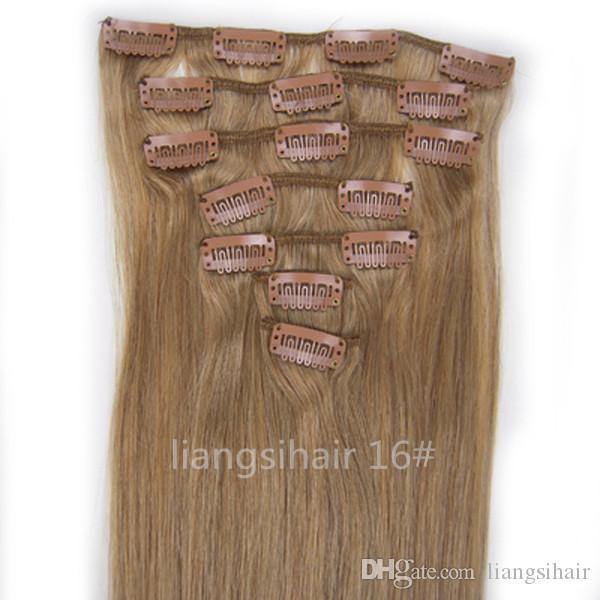 """브라질 Remy 인간의 머리카락 확장 Weft 22 """"80g 7pcs 16 # Ash Blonde Straight Grade 7A 페루 인도 말레이시아 클립 헤어 번들"""