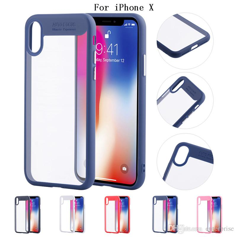 on sale de8c4 4dfb9 Auto Focus Case For IPhone X 7 8 Plus PC + TPU Clear Back Cover Shockproof  Cases For IPhone 6 6S Plus Samsung Galaxy S8 Note 8 S7 Edge Personalized ...