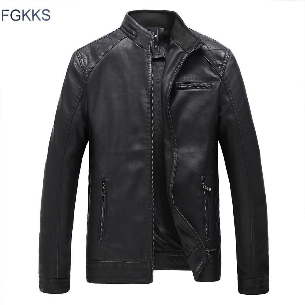 Gros-FGKKS New Hommes Brown Véritable En Cuir Vestes Hommes Véritable Véritable Peau De Vache Marque Homme Bomber Moto Biker Manteaux