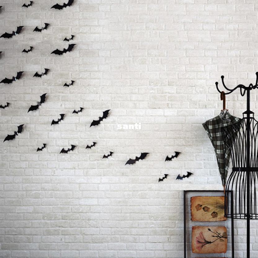 12 قطعة / المجموعة الأسود 3d diy pvc بات الجدار ملصق مائي الرئيسية هالوين الديكور