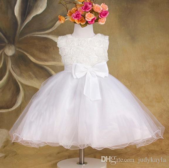 Rose Flower Flower Girl Dress Bez Rękawów Duży Bowknot Gaza Dzieci Ślub Princess Dresses 3 Kolor W magazynie Dzieci Korowód Sukienka WD472