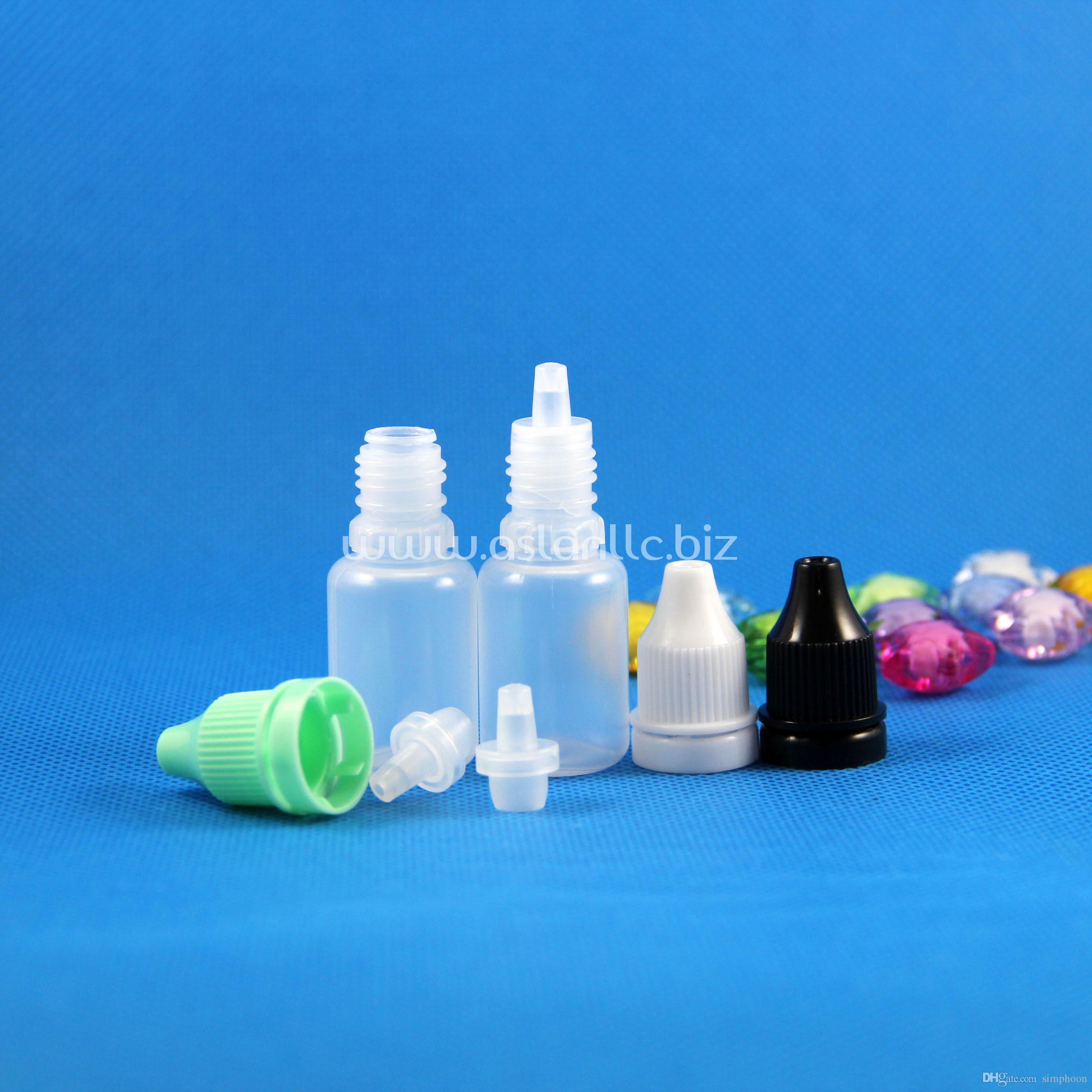 100 Pcs 10 ml (1/3 oz) Plástico Conta-gotas Garrafas À Prova de Calor Caps Dicas Seguro LDPE E Vapor Cig Líquido 10 ml