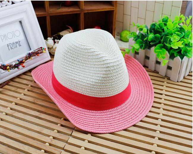 القبعات الشاطئ الصيفية للأطفال تطابق لون قش البنات الأولاد sunhats أطفال قبعات الموضة