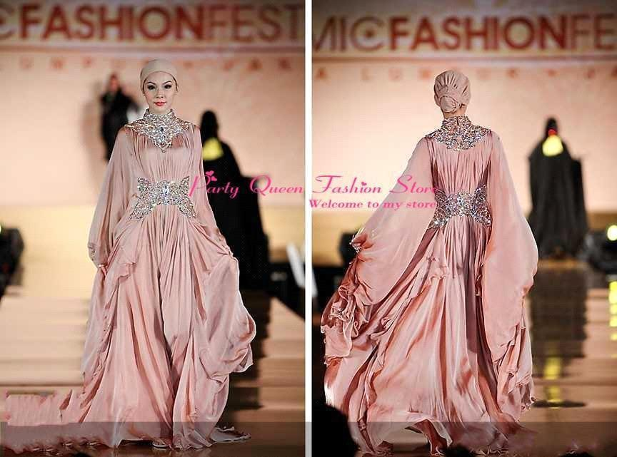 2015 Muslim Evening Dresses With Hijab High Neck Long Sleeves Beads ...