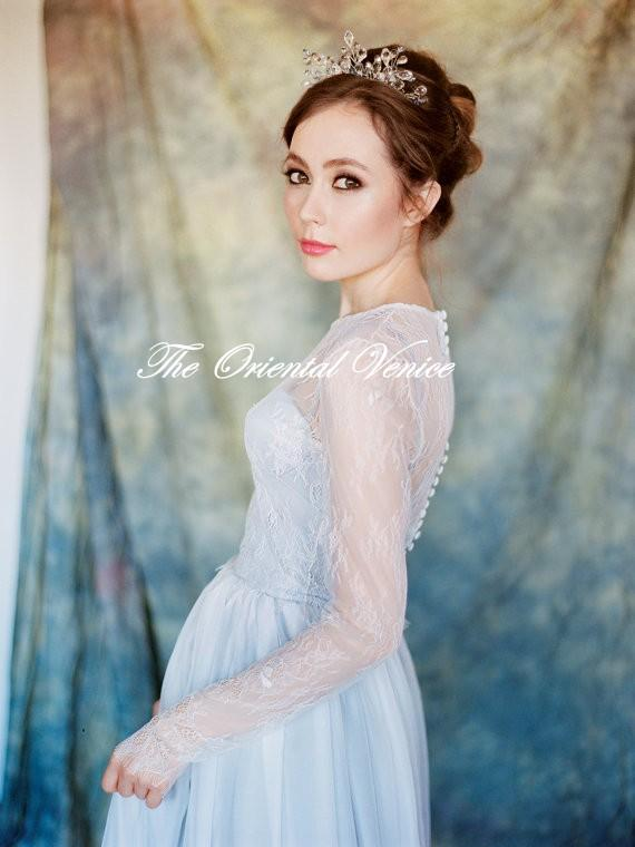 Discount Grey Full Lace Long Sleeves Wedding Dress With Detachable ...