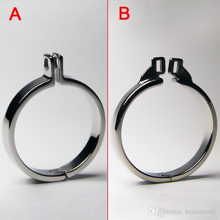 Cintura di castità maschile Cock Rings Metallo Bondage Gear per uomini Anello pene per gabbia cazzo Acciaio inossidabile BDSM Chastity Cage Giocattoli adulti del sesso