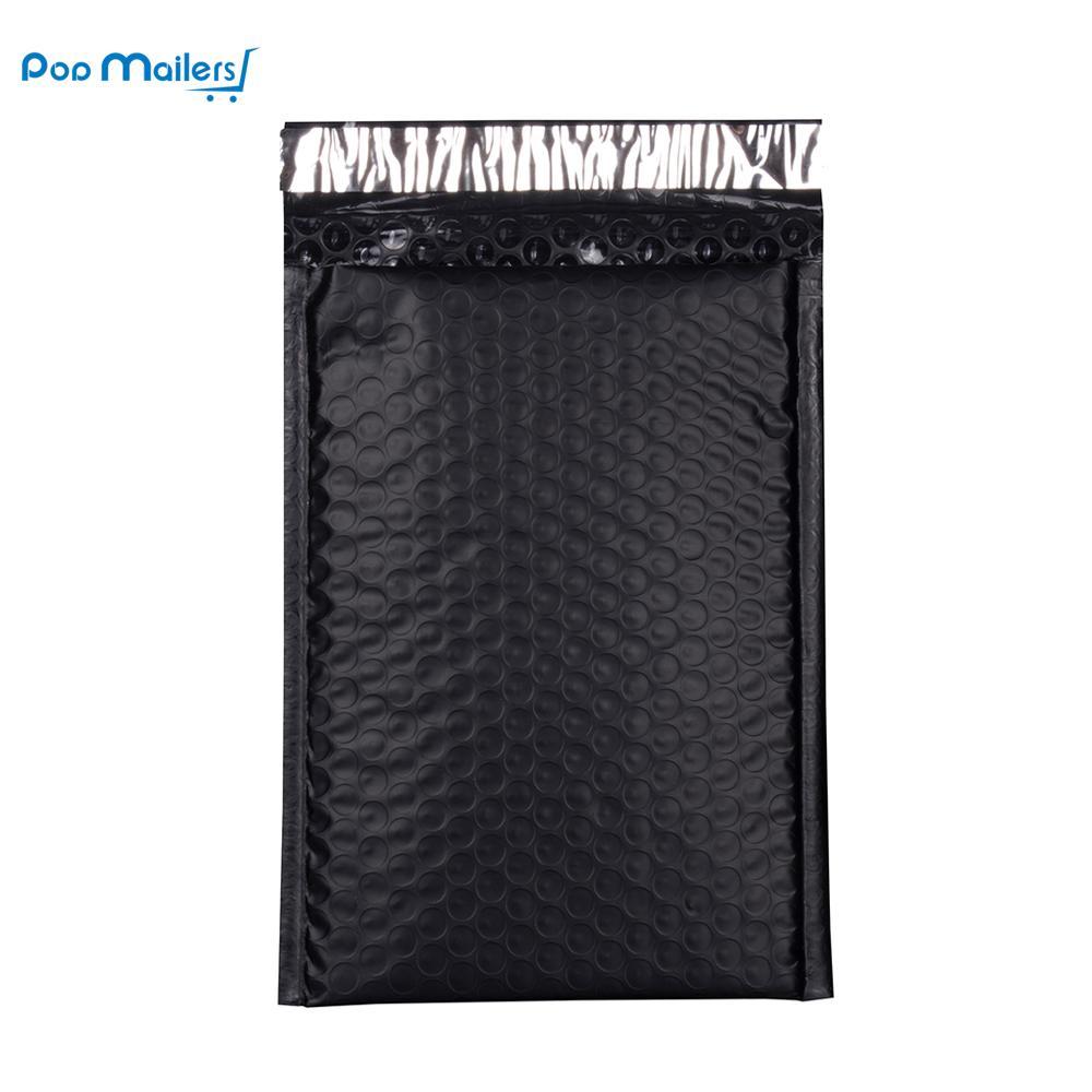 Mailer Kargo Yastıklı Zarf Çanta Posta Toptan 50pcs 8.5x11inch 235 * 280 mm Poly Kabarcık Siyah Renk Darbeye Kurye Kabarcık mailler