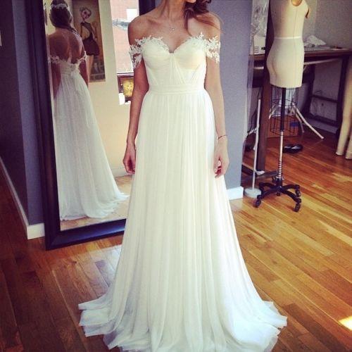2019 летний пляж свадебные платья с плеча с коротким рукавом кружева шифон длиной пола свадебные платья на заказ W1059