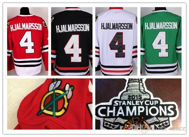 2016 NIEUW, Heren gestikt # 4 Niklas Hjalmarsson Chicago Blackhawks Jersey W / 2015 Stanley Cup Champion Patch Ice Hockey Jersey