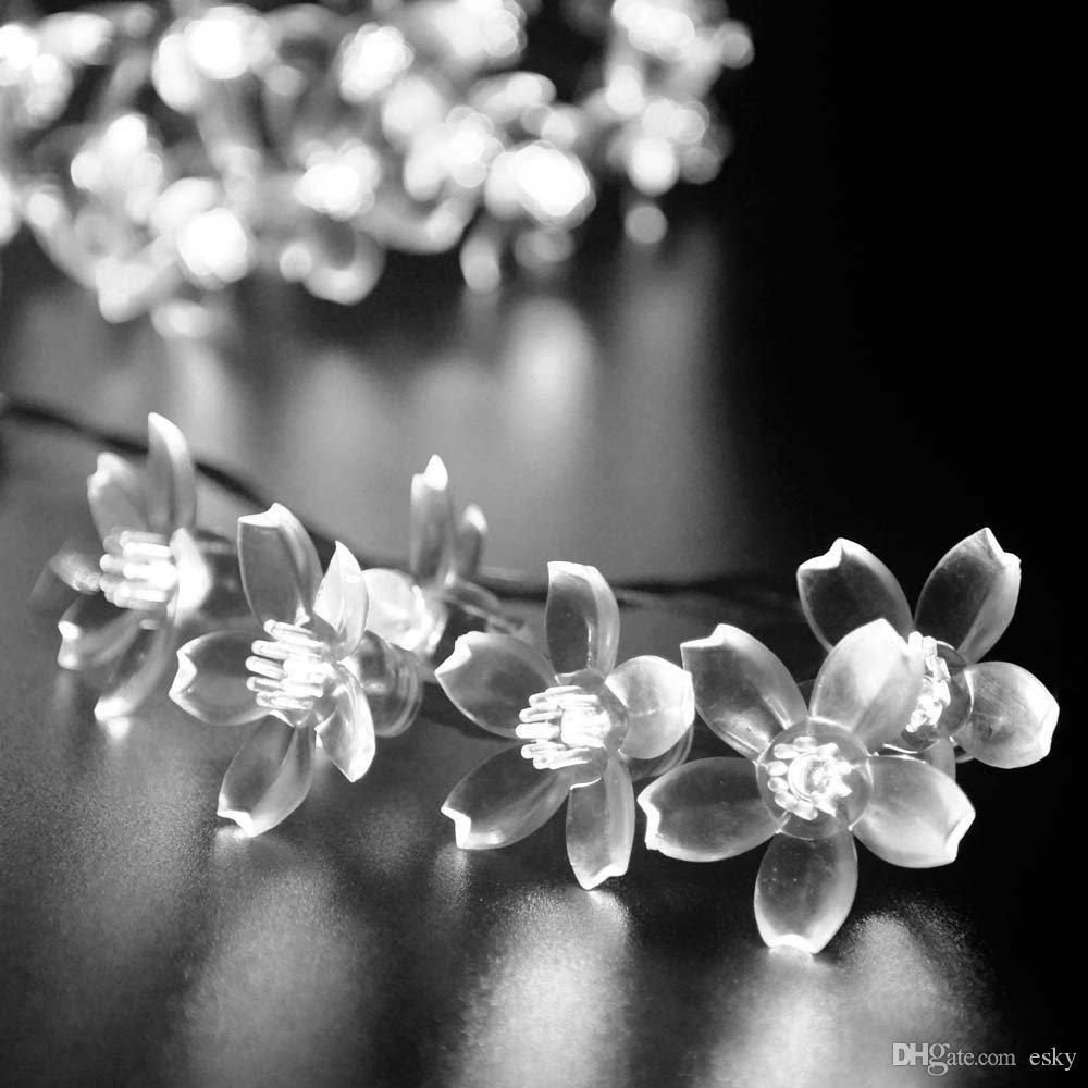 Delighted white flower fairy lights gallery wedding and flowers solar christmas flower fairy string lights 21ft 50 led blossom mightylinksfo Image collections