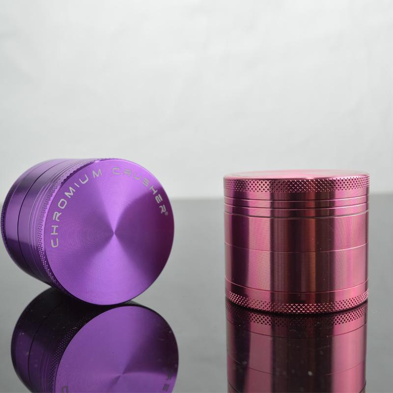 Chromium Crusher Grinder for Tobacco 4-layers Top Hard Smoking Grinder Aluminum Mental Grinders 50x40mm Diameter Dry Herb Grinders 2 Colors