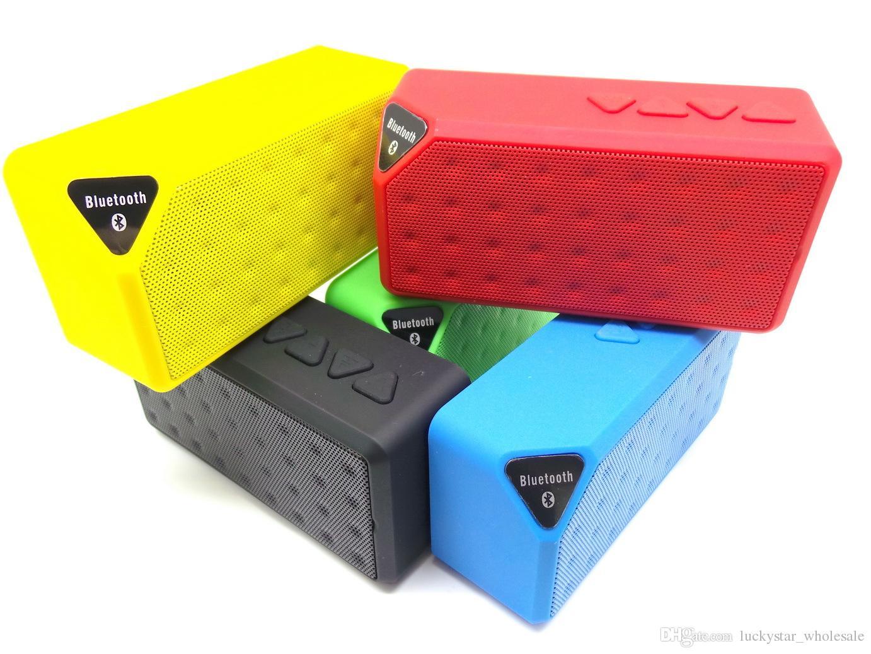 دي إتش إل الحرة ميني بلوتوث المتكلم X3 اللاسلكية المحمولة مضخم الصوت مربع مع ميكروفون TF USB FM 2014 جديد ل iPhone6 باد سامسونج