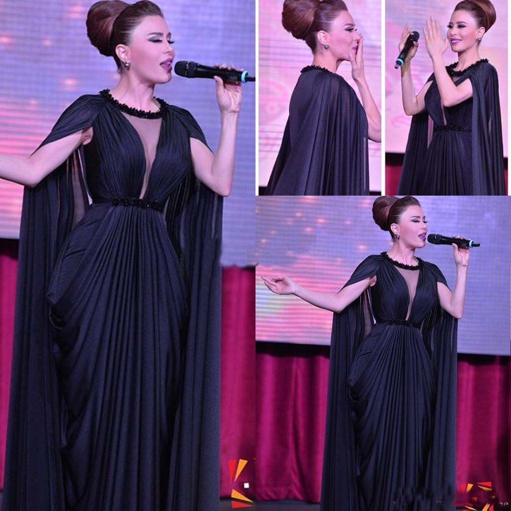 Dark Navy Prom Dress 2016 With Cloak Sheer Jewel Neck Pick Ups Sash ...