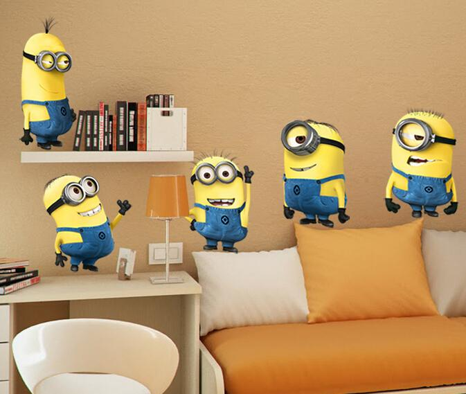 Minions Wallpaper Children Bedroom Cartoon 3D Walls Stickers Despicable Me  Movie Home Decor Decals Sticker APKKCA Wholesale Wall Stickers Love Wall ...