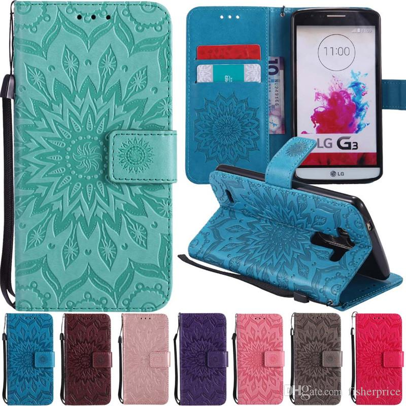 3D Sun Flower Patterned Flip Leather Wallet Card Holder Stand Phone Case Cover For LG G3 G4 G5 G6 LS775