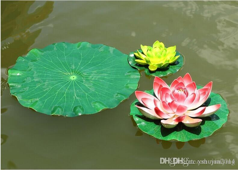 17 cm Jardín Decoración para el hogar Artificial Flor de hoja de loto Material de EVA Depósito de peces Piscina de agua Decoraciones Ornamento del arte de la planta verde Envío Gratis