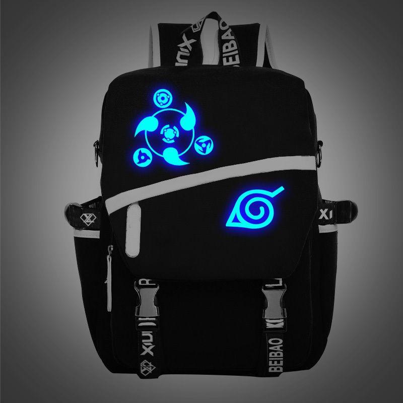 حقائب شحن مجاني جديد قضية Noctilucent ناروتو الظهر بوي فتاة الهوكاجي مدرسة Ninjia للمراهقين اليابانية أنيمي قماش حقائب تحمل على الظهر
