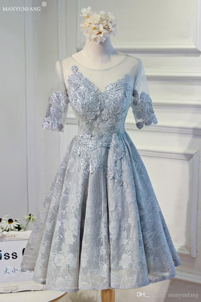2018 New Half Sleeves Short Bridesmaid Dresses A Line Backless ...