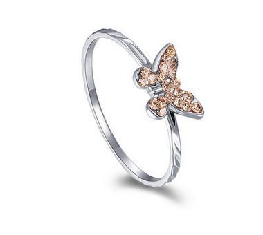 цвет шампанского бриллиантовая бабочка 925 серебряное кольцо леди весь размер (yt-jd ) fgdg
