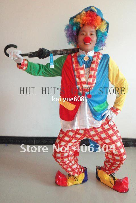 Free shipping by EMS ,2sets/lot,Clown Costumes,Cosplay costumes,one set is including 7pcs,coat,trouses,wig,nose,glove,bow,hat