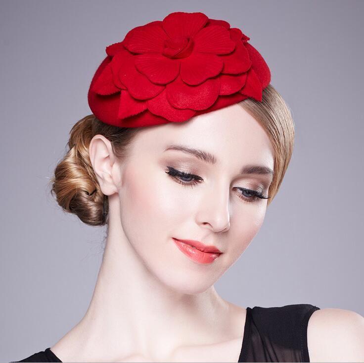 Autumn and winter knit cape wool Little hat The bride headdress berea cap elegant stewardess cap headdress free shipping HT19