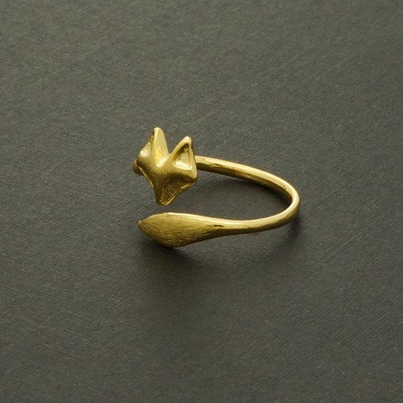 - R023 золото серебро милый Фокс регулируемые кольца простой 3d животных Фокс лицо кольцо Фокс хвост кольцо крошечные витой Фокс кольца для женщин