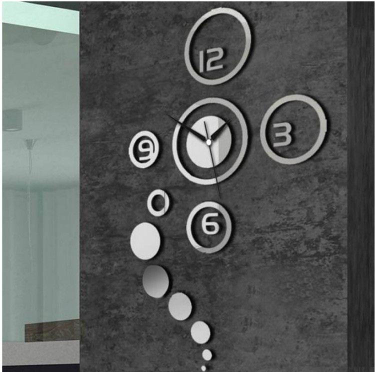 크리 에이 티브 미러 패션 음소거 벽 시계 (무작위 컬러) 실버 0201004