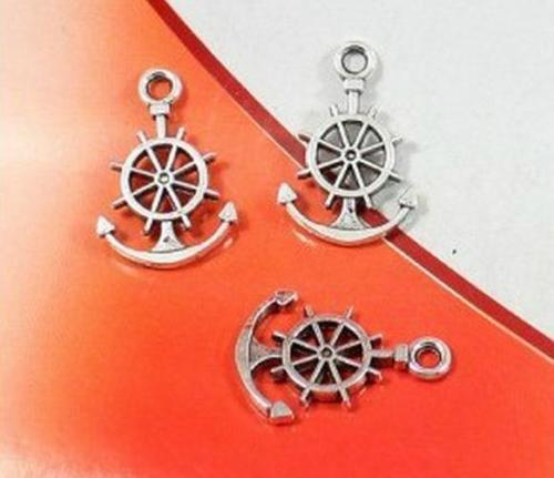 200Pcs Antique Silver Anchor Rudder charms Pendant For Jewelry Making 21*14mm