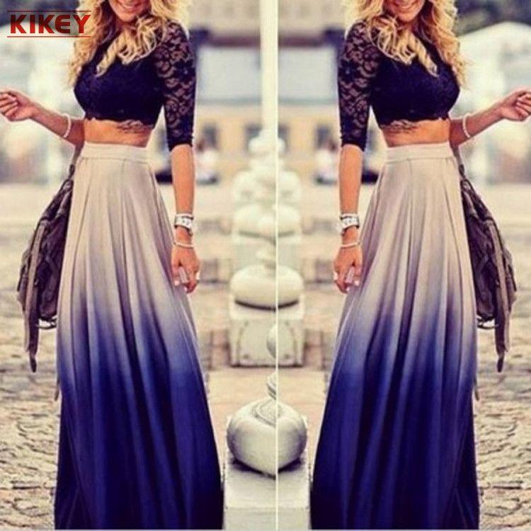 الخريف أزياء بلون خليط تنورة عالية الخصر الشيفون مطوي تنورة طويلة النساء التنانير NZ887