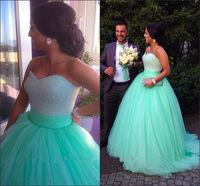 Sparkly Pageant Dress Sequins Beaded Bodice Corset Mint Green Prom Dress Ball Gowns 2015 Tulle Long Evening Party Gowns