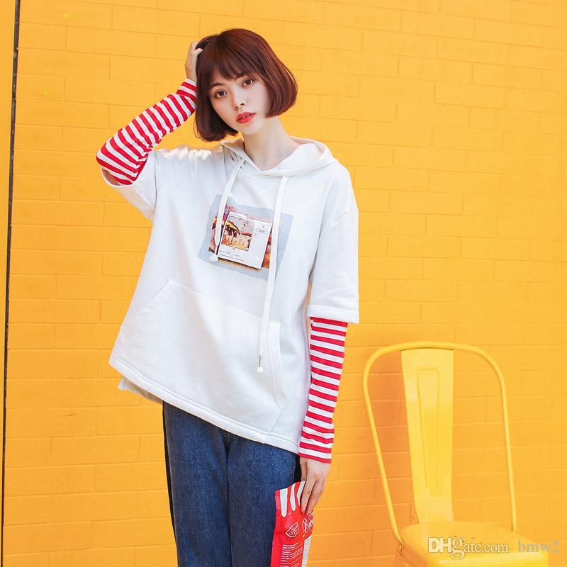 Yeni Moda Yanlış Iki Adet Patchwork Hoodie Sweatshirt Kadınlar Sonbahar Baskılı Uzun Kollu Hoodies Kadın Tüm Maç Eşofman
