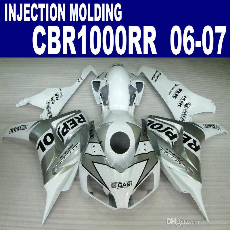 Kit di carenatura ABS per HONDA CBR1000RR 06 07 argento bianco Kit di carenature per ABS per scafo REPSOL CBR 1000 RR 2006 2007 VV9