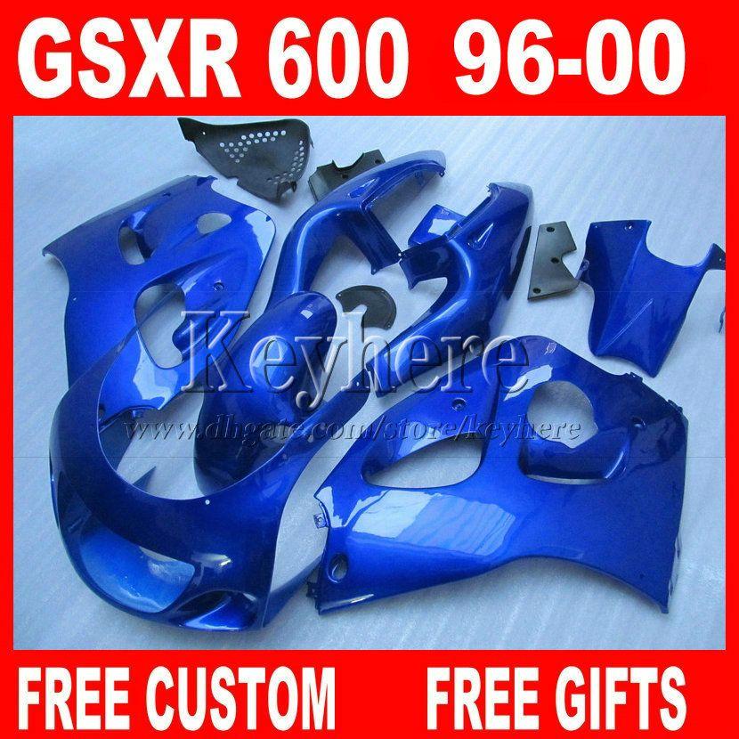 All Blue Fairing kit para SUZUKI SRAD 96 97 98 99 00 GSXR600 GSXR750 peças de plástico carenagem gsxr 600 750 1996 1997 1998 1999 2000 5E7W