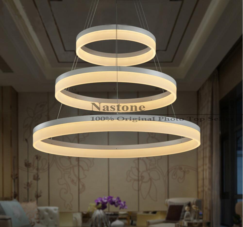 1 Halka 2 Halka 3 Yüzükler Çevreler Modern LED Kolye Işıklar Yemek Odası için Beyaz Akrilik LED Sarkıt Çağdaş Warmwhite Coldwhite
