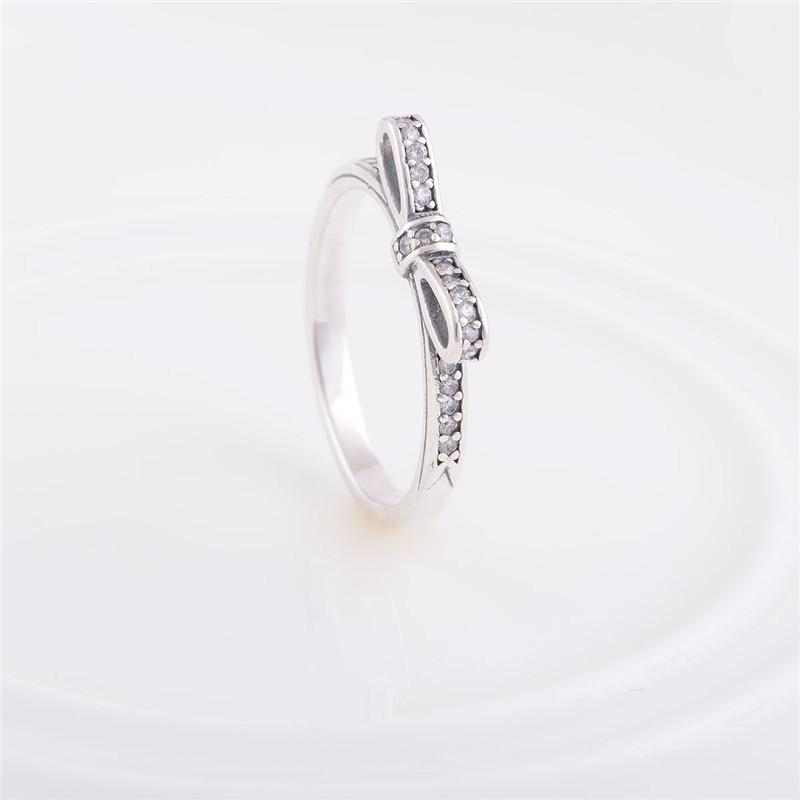 Authentic 925 Sterling Silver Bow Pattern Engagement Ring Wedding Rings For Women Fits European Pandora Style Charm