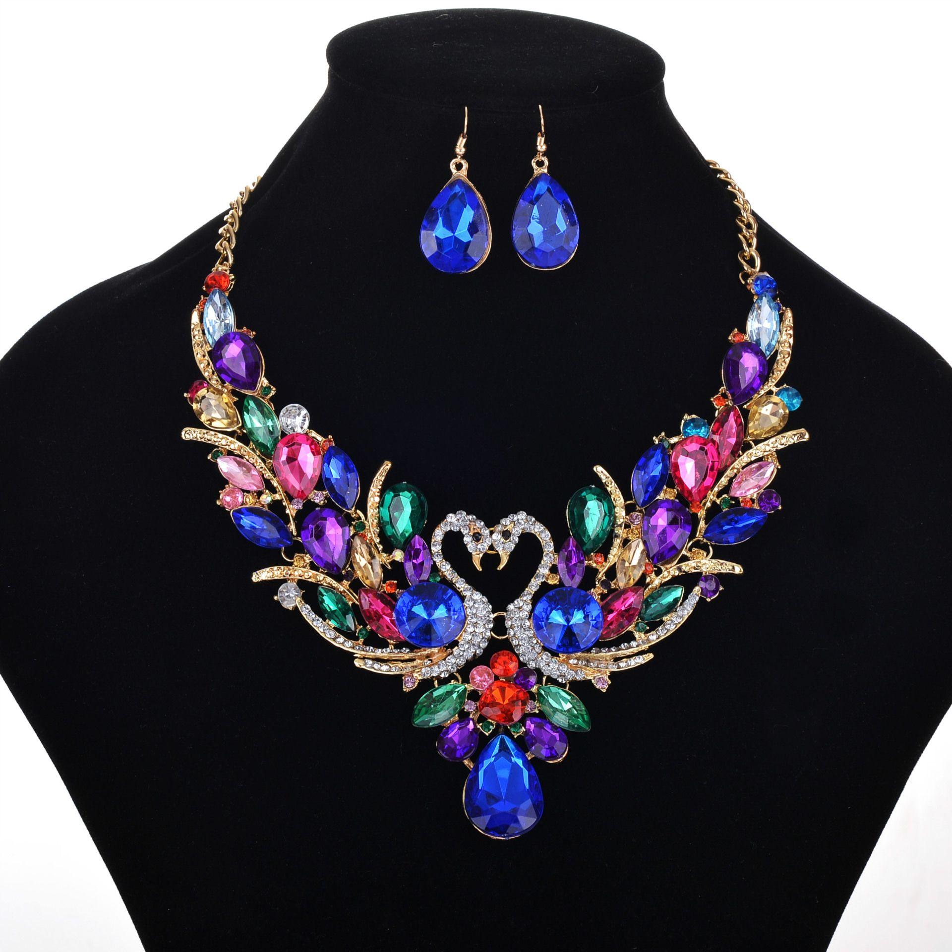 NEUE ANKUNFT HEISSE VERKAUF Diamant Anzug kurze Allgleiches Legierung Halskette und Ohrringe gesetzt