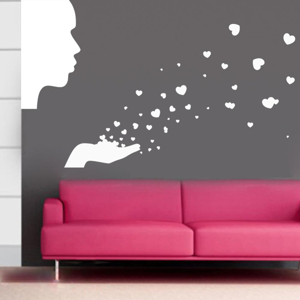 Flower butterfly wall stickers home decor removable 9211 diy people blowing love wall decals removable wall sticker home decoration wall decals free shipping wallpaper amipublicfo Image collections