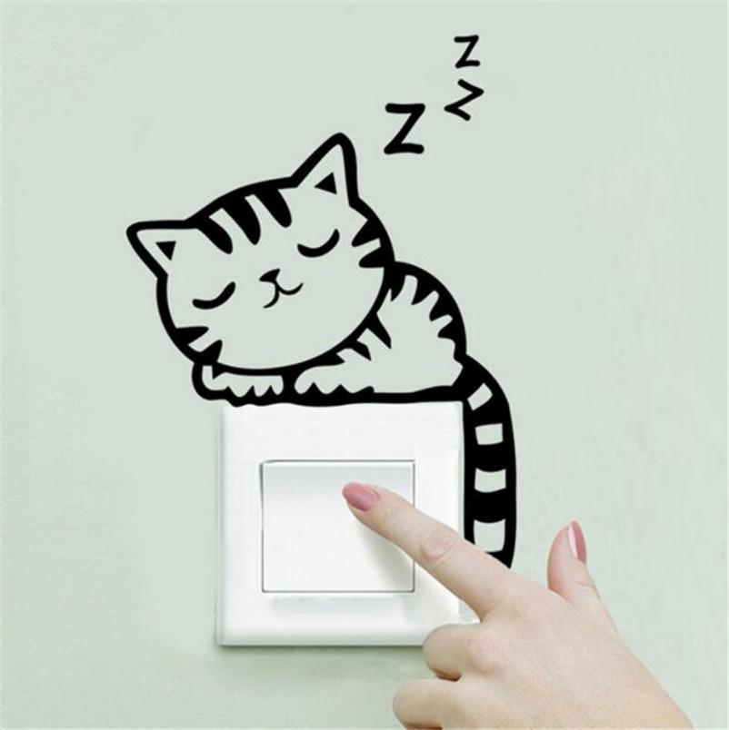 도매 - 핫 9 스타일 DIY 재미 귀여운 고양이 동물 스위치 스티커 벽 스티커 홈 인테리어 침실의 거실 장식 무료 배송