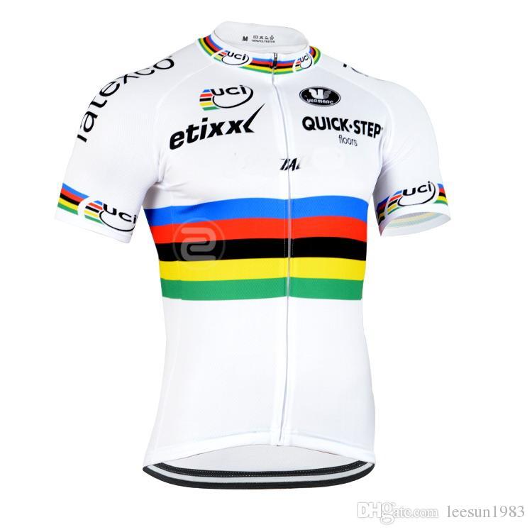 2015 ETIXX QUICK STEP PRO TEAM UCI WHITE Q18 فقط قصيرة الأكمام روبا CICLISMO قميص CYCLING جيرزي CYCLING ارتداء الحجم: XS-4XL