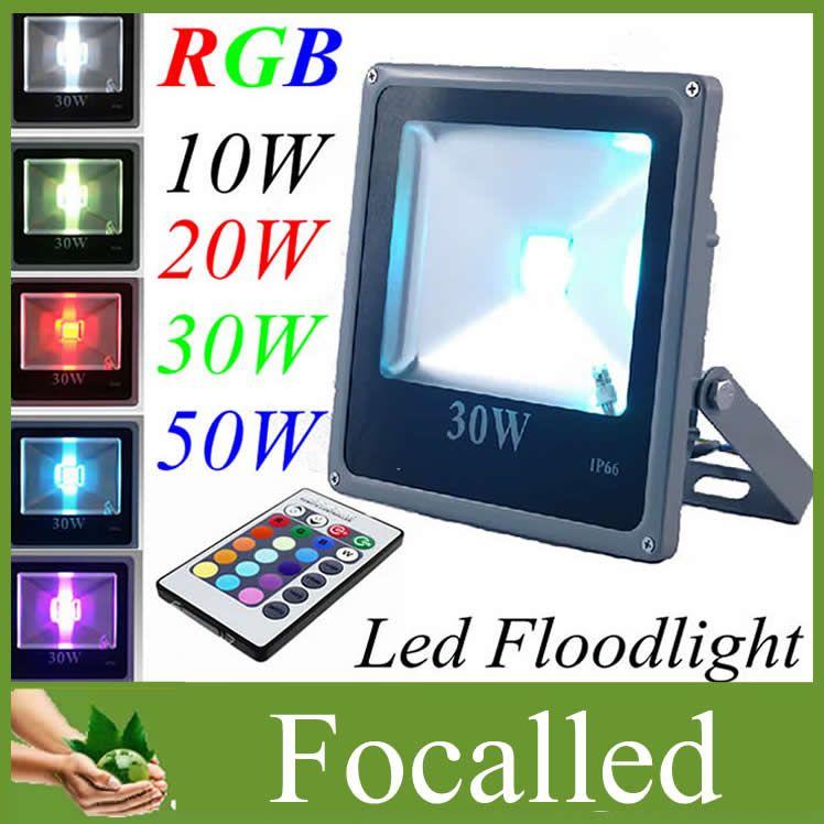 Su geçirmez 10 W 20 W 30 W 50 W LED Açık Işıklandırmalı RGB Sıcak Beyaz Soğuk Beyaz Led Peyzaj Taşkın işık 12 v 85-265 v + IR Uzaktan Kumanda